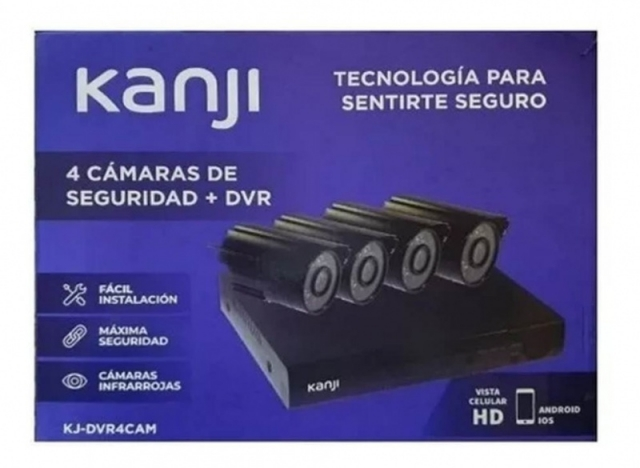 Kit Seguridad Kanji 4 Camaras Dvr Hd 720p App Android Ada (5836)