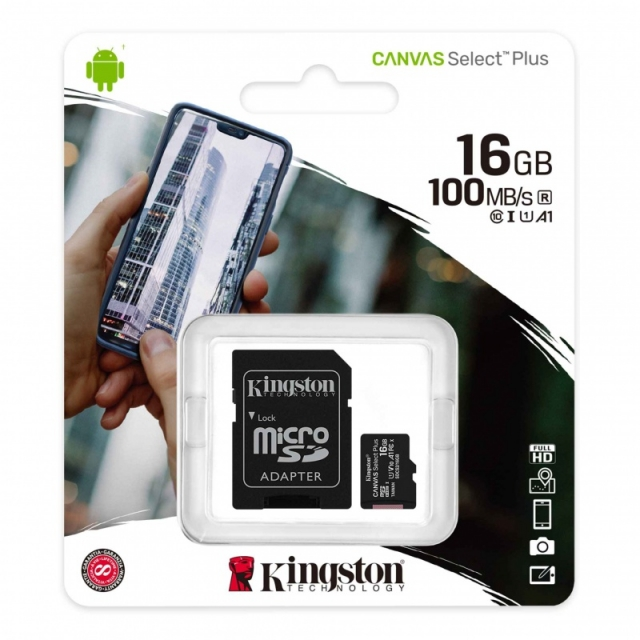MICRO SD + ADAP  KING CLASE 10 CANVAS PLUS  DE 16GB (6052)