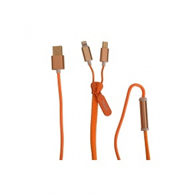 Cable USB zipper 2 en 1 Z9 naranja (4446)